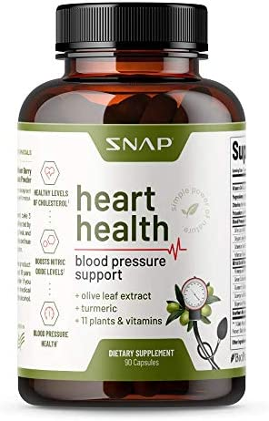 Heart Health Blood Pressure Supplement – Herbs to Lower Blood Pressure Naturally, Support Healthy Blood Circulation & Reduce Hypertension – Olive Leaf Extract, Turmeric & Other Vitamins (90 Capsules)
