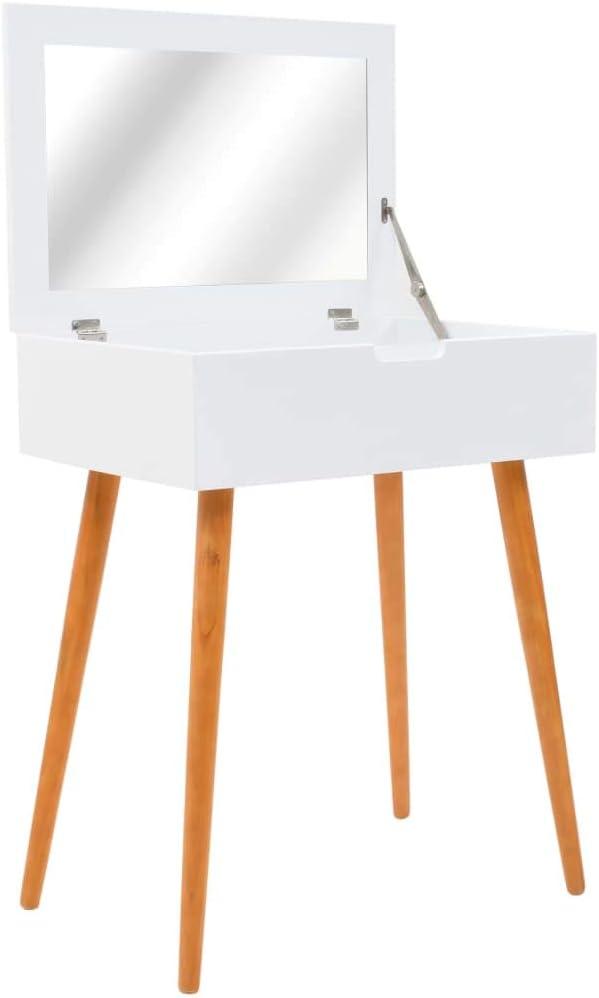 yorten Tocador con Espejo Vidrio para Dormitorio o Vestidor Estilo Moderno de Mediados de Siglo MDF 60x40x75 cm Blanco y Marrón