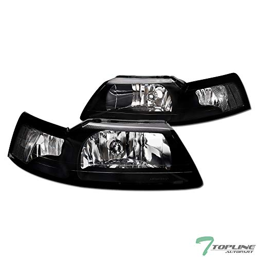 Topline Autopart Black Clear Housing Headlights Signal NB For 99-04 Ford Mustang