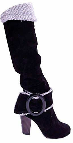 Snow Boots Große Größe 34,5-41,5 Platz High Heels Knee High Winter-Schuhe für Frauen Sexy Warm Pelz Schnalle Fashion Boots Schwarz