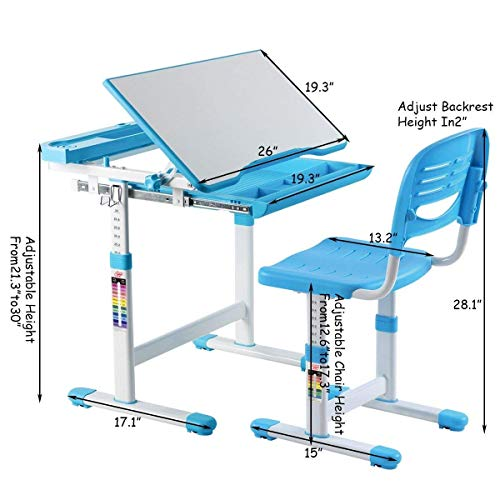 Multifunctional Height Adjustable Children's Desk Chair Set - Blue Only by eight24hours by CWY (Image #1)
