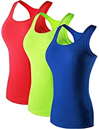 Neleus Women's 3 Pack Compression Base Layer Dry Fit Athletic Workout Tank Top
