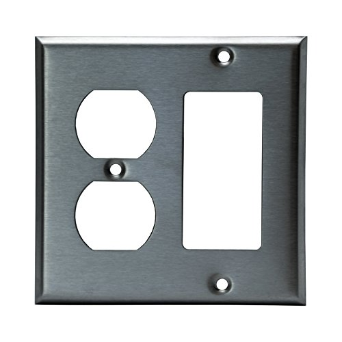 Gfci Metal Wall Plate - ENERLITES Combination Duplex Receptacle Outlet/Decorator Light Switch Metal Wall Plate, Corrosive Resistant, Size 2-Gang 4.50