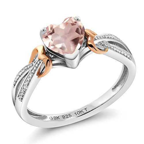 Gem Stone King 925 Silver and 10K Rose Gold Rose Quartz and Diamond Women's Ring 0.71 cttw Heart Shape Available in size 5, 6, 7, 8, 9