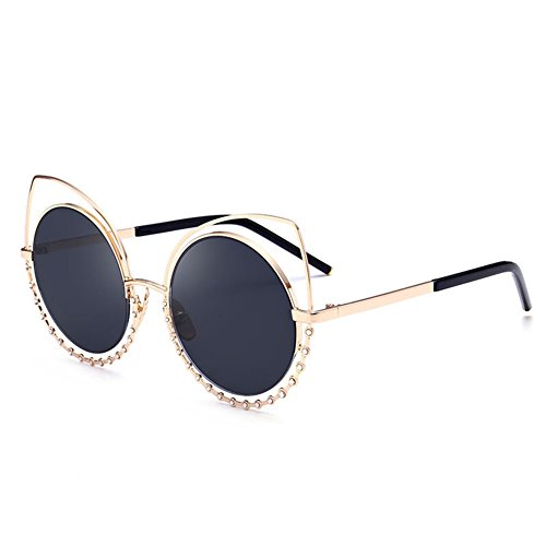 JOJO Girl Sunglasses Avant-garde Diamond Reflective Cat Eye Crystal Metal Frame Women - Avant Garde Sunglasses