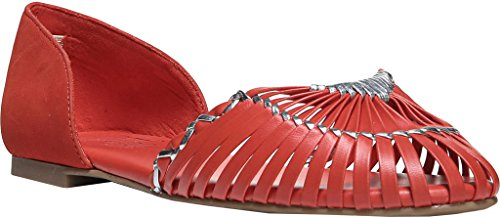 Nickel Leather Closed Toe Slide Firefly Flats Womens Red Fergie wx6fqtE5q