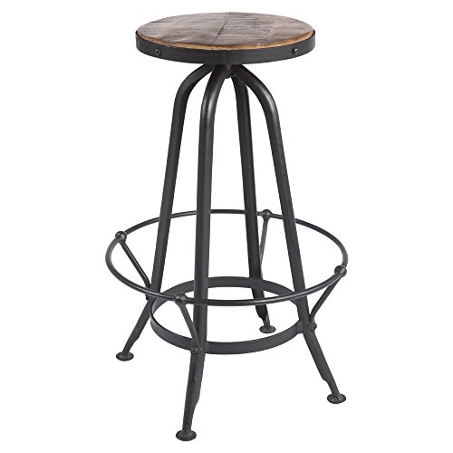 Yosemite Home Decor YFUR-SBABS1173G Casual Barstool, Soft Hand Painted Accents with Aged Metal Frame Finish