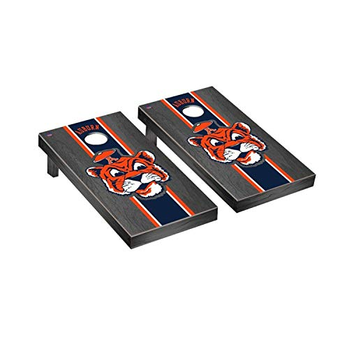 (Victory Tailgate Auburn University Tigers NCAA College Vault Onyx Stained Stripe Cornhole Board Set - 2 Boards, 8 Bags)