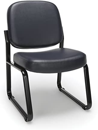 OFM Core Collection Armless Vinyl Guest and Reception Chair, in Navy 405-VAM-605