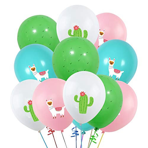 40PCS Llama Cactus 3D Printed Party Balloons Decorations, Llama Themed Birthday Party Supplies, Bolivian Peru Alpaca Party Cactus 12 INCH Thick Latex Balloons for Baby Shower Kids Birthday Party -