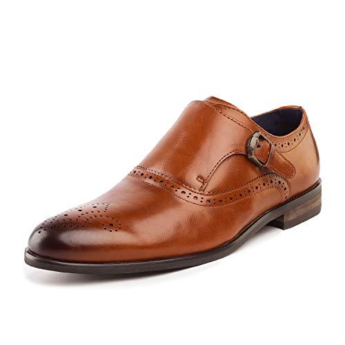 Bruno Marc Men's Monk Strap Dress Shoes Formal Oxfords Florence_8 Brown Camel Size 9.5 M -