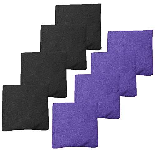 Weather Resistant Cornhole Bean Bags Set of 8 - Regulation Size & Weight - Purple & Black