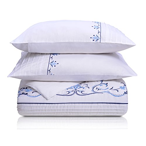 Superior Sofia 100% Premium Cotton Sateen Full/Queen Embroidered Duvet (Embroidered Duvet)