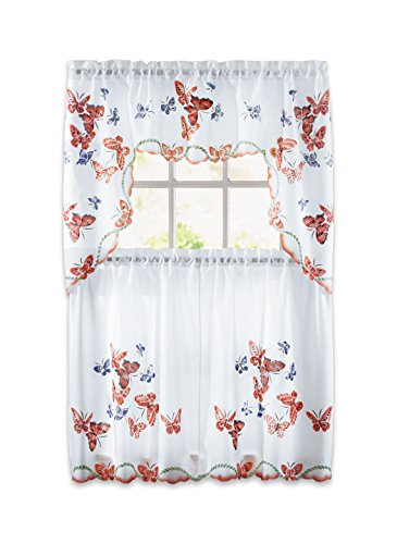 - Carol Wright Gifts Butterfly Curtain Set, Rose
