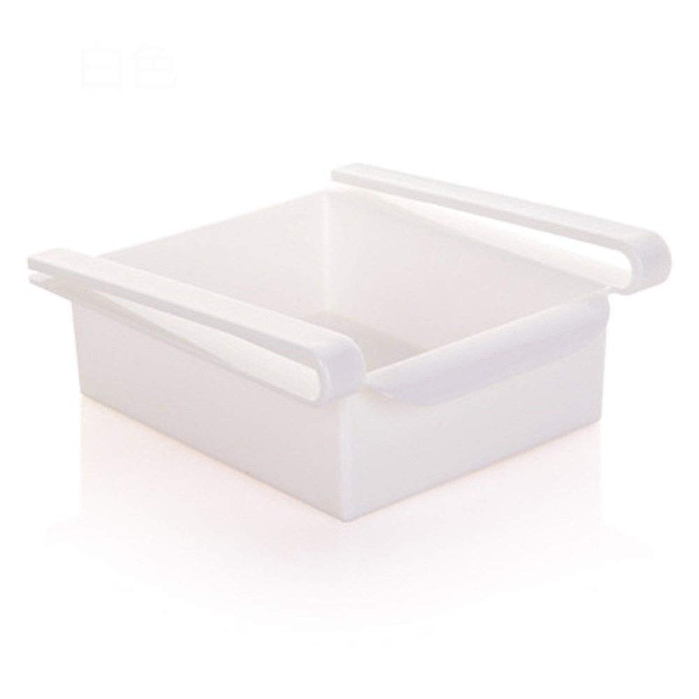 Pull-out storage box Kitchen multi-function storage rack Drawer Preservation Plastic Storage rack Breathable Drain Easy to clean 15.516.57cm (Color : White, Size : 15.516.57cm)
