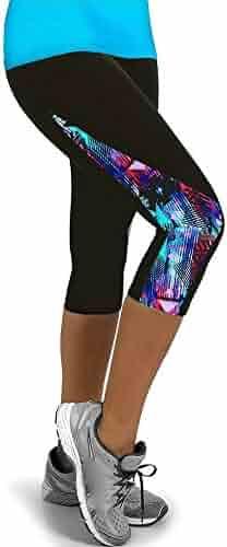 00aa2b176a392 SGMORE ❤ Yoga Capris for Women Floral Lace Splicing High Waist Yoga Pants  Workout Leggings Plus