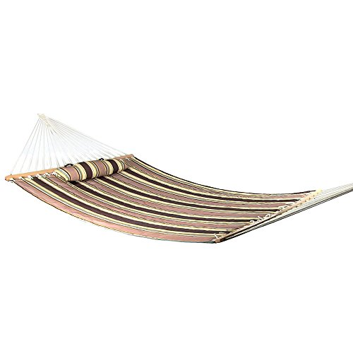 Sunnydaze 2 Person Quilted Fabric Hammock with Spreader Bars and Detachable Pillow Heavy Duty 450 Pound Capacity, Sandy Beach