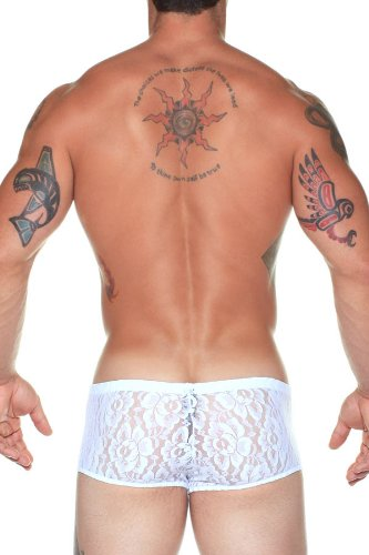 Male Power Stretch Lace Short White