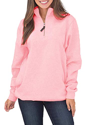 VIENJOY Women's Sport Baggy Long Sleeve Collar Front Pockets Quarter 1/4 Zip Fleece Pullover Sweatshirts for Women Thick Outwear Tunic Top Shirts Pink - Fleece 1/4 Sweatshirt Zip Pullover