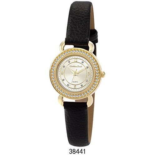 Montres Carlo Black Faux Leather Strap with Gold Case White Dial