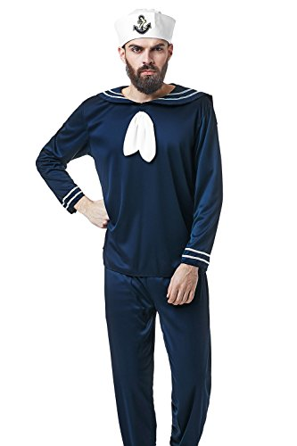 Navy Blue Sailor Costumes (Adult Men Shipmate Costume Seaman Uniform Sailor Suit Mariner Dress Up Role Play (Medium/Large, Navy Blue))