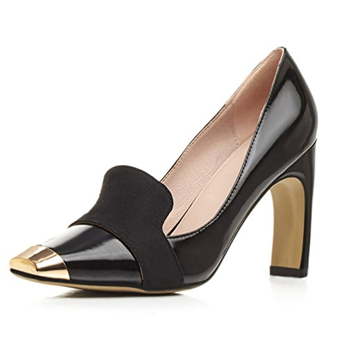 Pumps High Shoes Platform on toe Black AIWEIYi Slip Women Dress Heels Square 5HZw14qxY