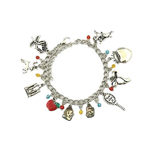 Snow White Movie Silver Tone Multiple Charms Bracelet w/Gift Box by (Storm X Men Costume White)