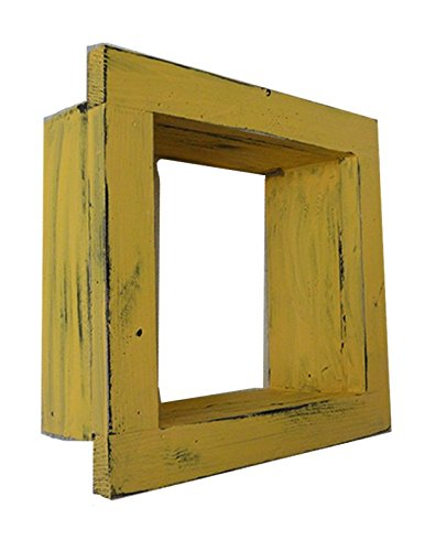 Square Wood / Wooden Shadow Box Display - 9'' x 9'' - Yellow - Decorative Reclaimed Distressed Vintage Appeal by IGC