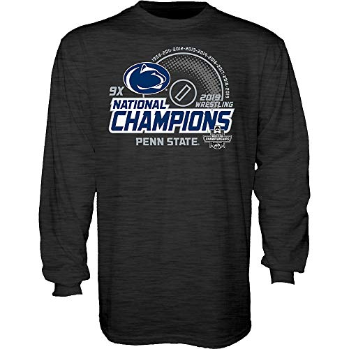Elite Fan Shop Penn State Nittany Lions National Wrestling Champs Long Sleeve Tshirt 2019 Charcoal - XL