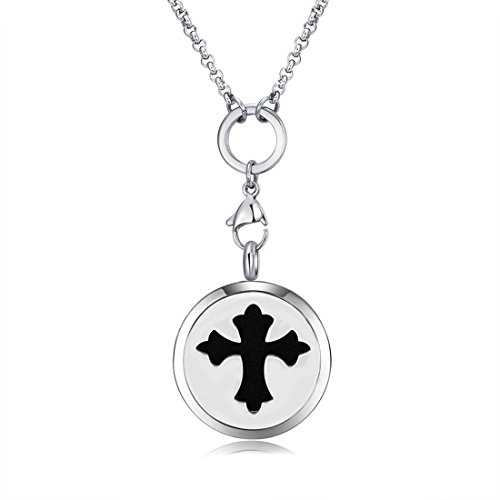 Cross Free 18' Chain - MESINYA New Pattern Cross Aromatherapy/316L s.steel Essential Oils Diffuser Locket Necklace