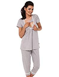 Zeta Ville - Womens Maternity Nursing Soft Pyjamas - Polka Dots Pattern - 105c