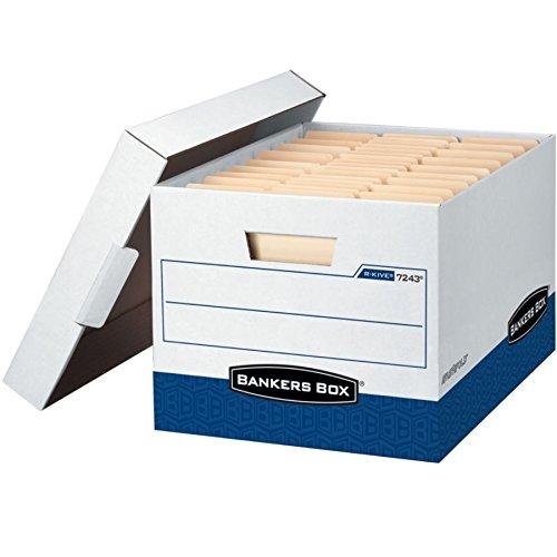 Bankers Box 0724303 R-kive storage box, 12 x 10 x 15, letter/legal size, white/blue, 4/ct