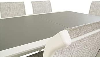 Edenjardi Conjunto para terraza, Mesa Extensible 160/210 y 6 sillones apilables, Aluminio Reforzado Blanco, Textilene taupé Jaspeado, 6 plazas