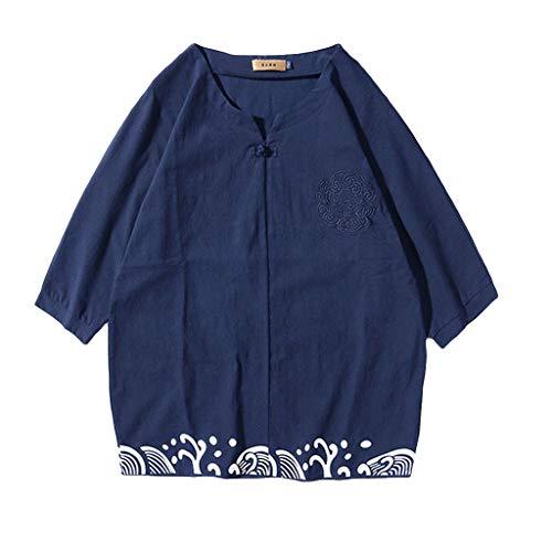 Kaister Men Summer New Cotton and Hemp Short Sleeve Long Pants Fashion Comfortable Suit (Penguin Belted Belt)