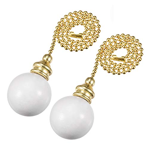 (uxcell White Wooden Ball Pendant 12 inch Polished Brass Finish Pull Chain for Lighting Fans Pack of 2 )