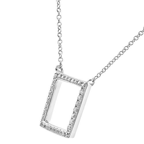 Revoni Bague en or blanc 9carats-Collier avec pendentif Femme-Diamant, 40,6cm, pendentif carré