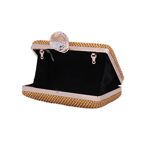 Day of Saturn Mujeres Mini-clutch Red De Diamantes Brillantes Boquilla Con Un Cristal Grande Notable Para Cócteles,Negro Azul