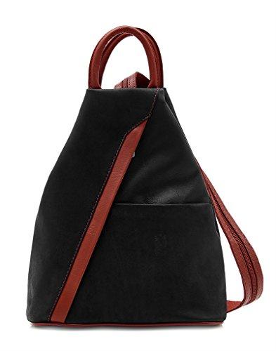 Benagio - Bolso mochila  para mujer rojo y negro