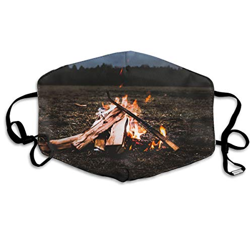 (Hateone Unisex Unique Mouth Mask - Bonfire Firewood Fire Flame Polyester Anti-dust Masks - Fashion Washed Reusable Face Mask for Outdoor Cycling)