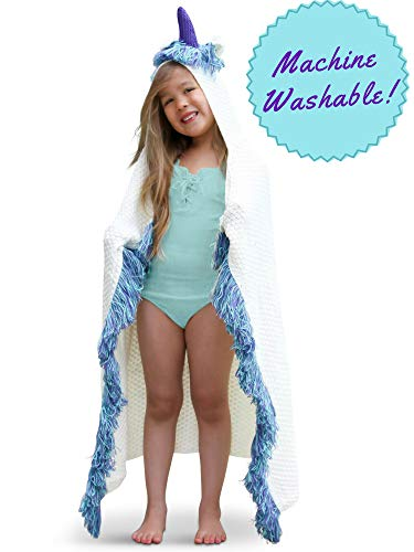 (Born To Unicorn Blanket for Girls - Girls Toys, Unicorn Toys, Unicorn Gifts for Girls Blanket,Unicorn Hoodie for Girls - Kids Unicorn Plush Wearable Blankets, Hooded Unicorns Throw Blanket for Girl)