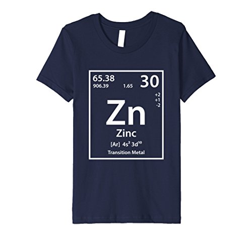 Kids Zinc Periodic Table of Elements T-Shirt 8 Navy