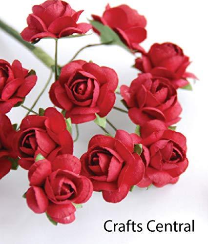"Zva Creative - Mini Rose Bulk Paper Flowers .5"" (12mm) 144 Stems - Classic Red"
