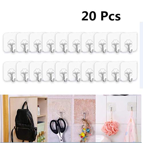 (Anasu 20pcs Adhesive Wall Hooks,Strong Transparent Waterproof Suction Cup Sucker Wall Hooks Hanger for Kitchen Bathroom (20pcs Clear))