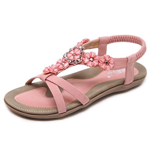 (Women's Summer Beach Thong Flat Sandals Shoes Bohemian Gladiator Beaded Rhinestone Elastic Sparkle Flip Flops Pink Flower 8)