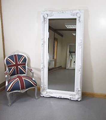 Carved Louis Large White Ornate French Frame Leaner Wall Mirror Amazon Co Uk Kitchen Home