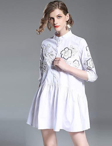 White Donna Ricamato Mini Elegante Floreale Dress Skater Supporto Da Yfltz qzA4nw