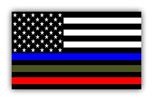 Gadsen Flags in USA 5 X 3 inch Thin Line US Flag Decal - Blue Green and Red Stripe American Flag Car Stickers - Support Police Military and Fire Officers (3 Pack) (Best Police Cars Usa)