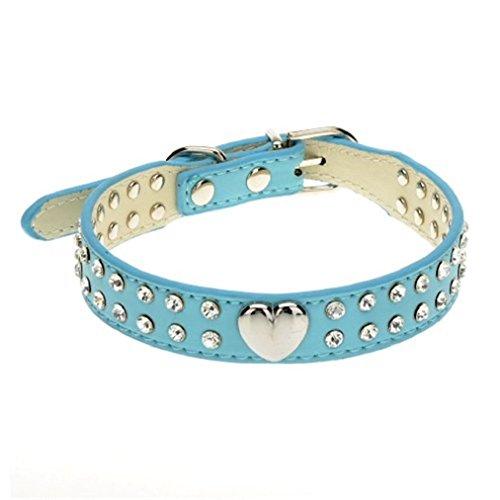 OvedcRay Pet Dog Cat Rhinestone Collar Princess Heart Bling Crystal Diamond Leather USA
