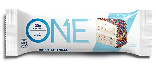 ONE Protein Bar, Birthday Cake, 2.12 oz. (12 Pack), Gluten-Free Protein Bar with High Protein (20g) and Low Sugar (1g), Guilt Free Snacking for Healthy (One Bat)