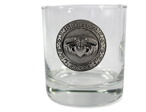 Whiskey Glasses with Pewter Celtic Symbols 4 Set by Robert Emmet Co. (Image #3)